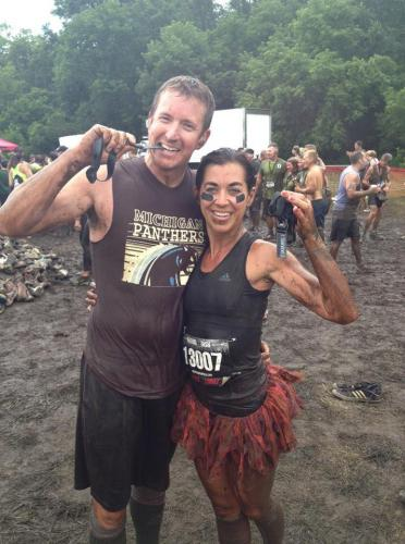 Doc and Misty at the finish line of the warrior dash.